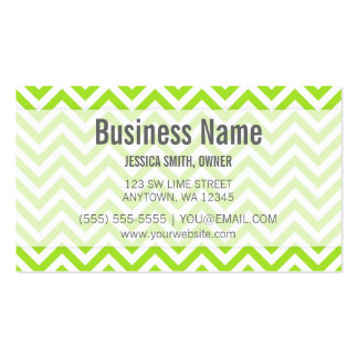 Modern Lime Green and White Chevron Pattern Business Card Template