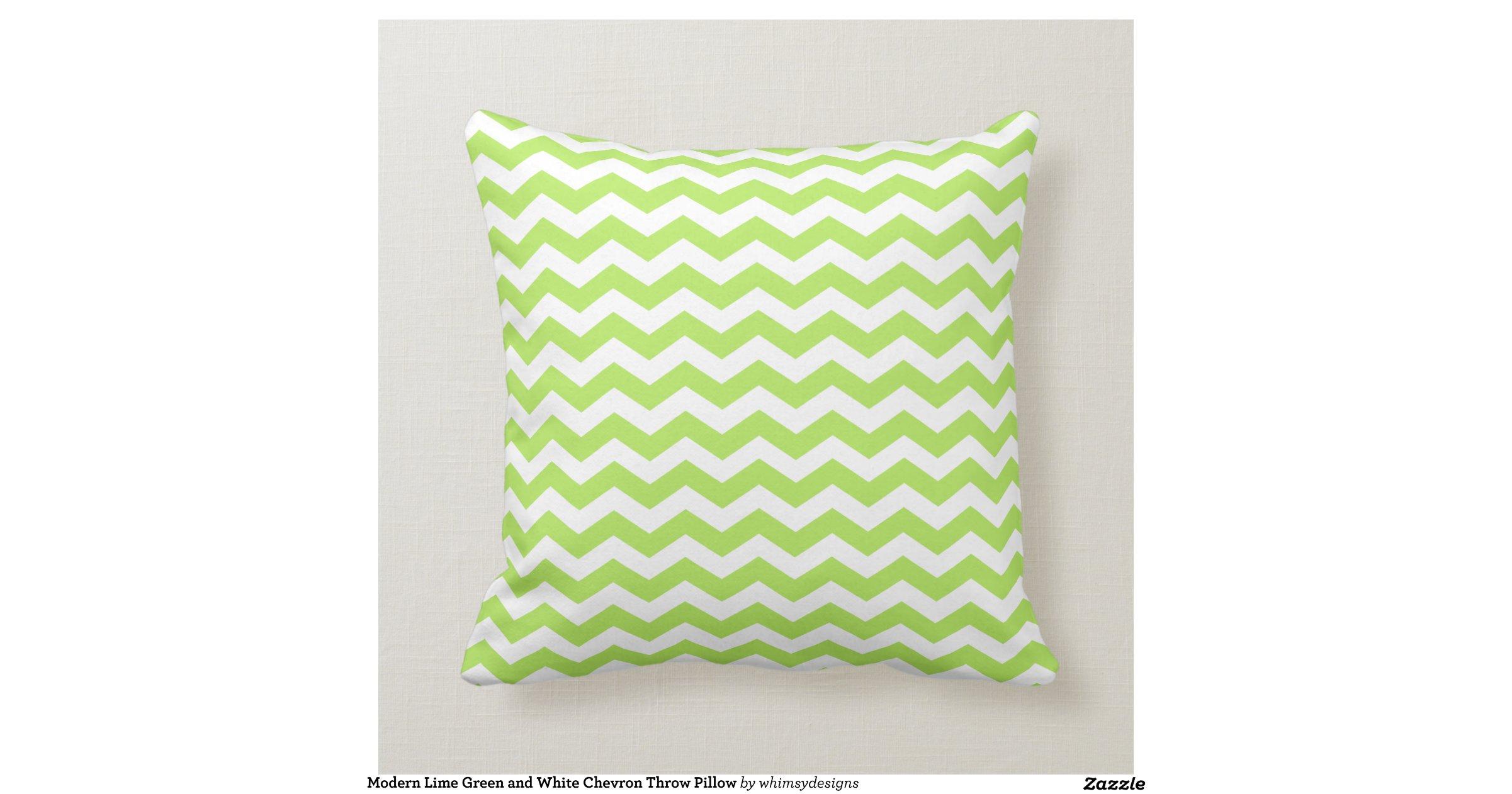 Modern lime green and white chevron throw pillow for Green and white throw pillows