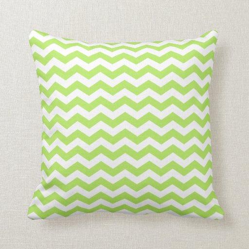 Modern Green Pillow : Modern Lime Green and White Chevron Throw Pillow Zazzle