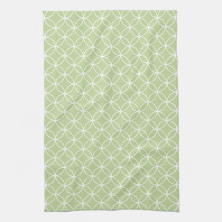 Modern Lime Green and White Circle Diamond Pattern Towels