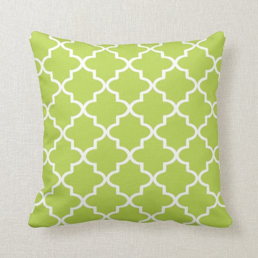 Modern Green Pillow : Modern Lime Green and White Moroccan Quatrefoil Throw Pillow Zazzle