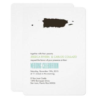 Modern Lime Green Aqua Puerto Rico Wedding Card