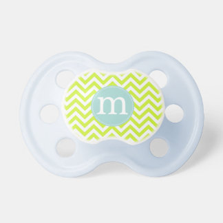 Modern Lime Green Chevron Personalized Pacifier