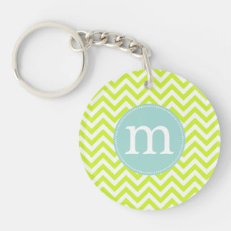 Modern Lime Green Chevron Personalized Single-Sided Round Acrylic Keychain
