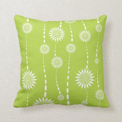 Modern Green Pillow : Modern Lime Green Floral Decorative Throw Pillow