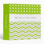 Modern lime green, grey, white chevron & polka dot vinyl binder
