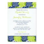 Modern Lime Green Navy Blue Flower Bridal Shower 5x7 Paper Invitation Card