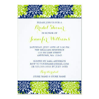 Modern Lime Green Navy Blue Flower Bridal Shower Card