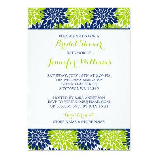 Modern Lime Green Navy Blue Flower Bridal Shower Card