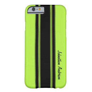 Modern Lime Green Racing Stripes With Name Barely There iPhone 6 Case