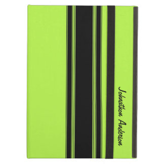 Modern Lime Green Racing Stripes With Name iPad Air Case