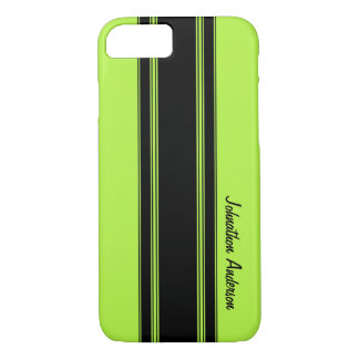 Modern Lime Green Racing Stripes With Name iPhone 7 Case