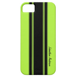 Modern Lime Green Racing Stripes With Name iPhone SE/5/5s Case