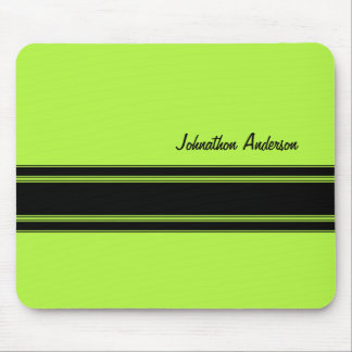 Modern Lime Green Racing Stripes With Name Mouse Pad