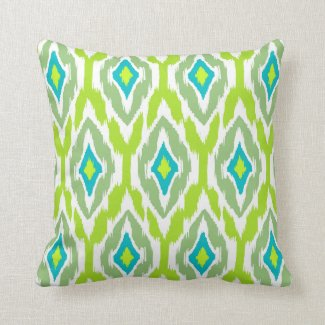 Modern lime green teal Ikat Tribal Pattern 1a Pillows