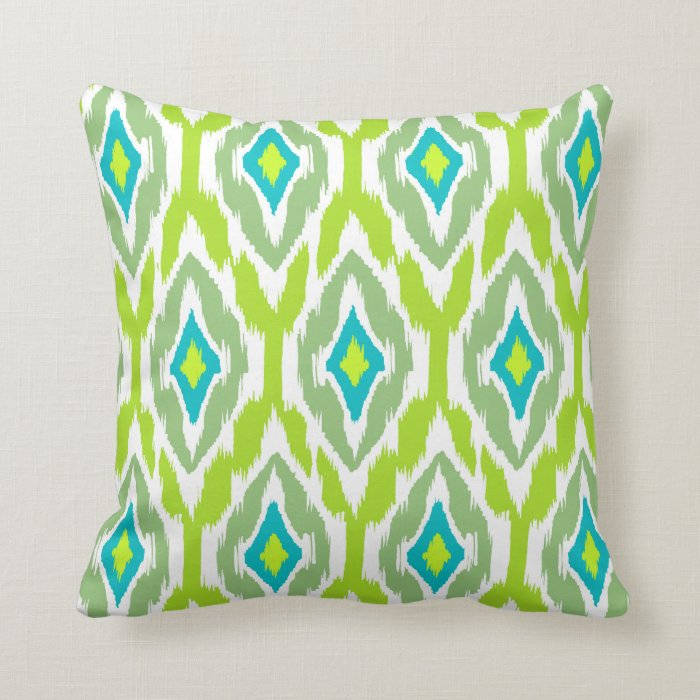 Modern lime green teal Ikat Tribal Pattern 1a Throw Pillow Zazzle