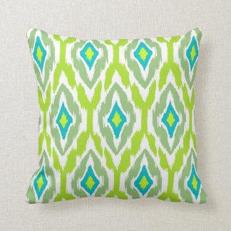 Modern lime green teal Ikat Tribal Pattern 1a Throw Pillow
