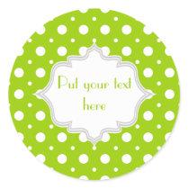 Modern lime green, white polka dot pattern custom classic round sticker