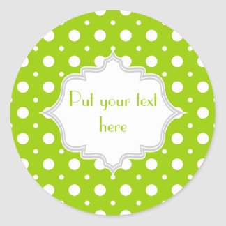 Modern lime green, white polka dot pattern custom classic round sticker
