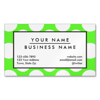 Modern Lime Green White Polka Dots Pattern Business Card Magnet