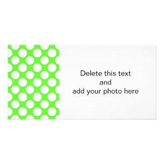 Modern Lime Green White Polka Dots Pattern Card