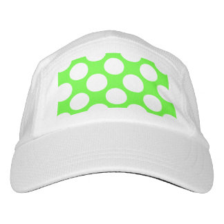 Modern Lime Green White Polka Dots Pattern Headsweats Hat