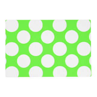 Modern Lime Green White Polka Dots Pattern Laminated Place Mat