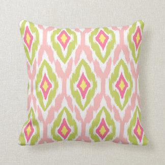 Modern lime pink fuchsia Ikat Tribal Pattern 1a Throw Pillow