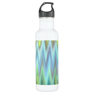 Modern Lime Turquoise Ikat Chevron Zigzag Water Bottle