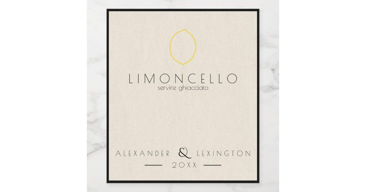 Modern Limoncello Wedding Favor Bottle Label Zazzle
