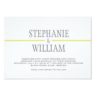 Modern Line Wedding Invitation Card in Lime