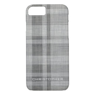 Modern Linen Plaid Pattern Personalized Name iPhone 7 Case