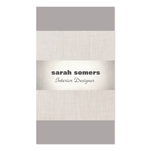 Modern Linen Silver Striped Stylish Gray Taupe Double-sided Standard Business Cards (pack Of 100)