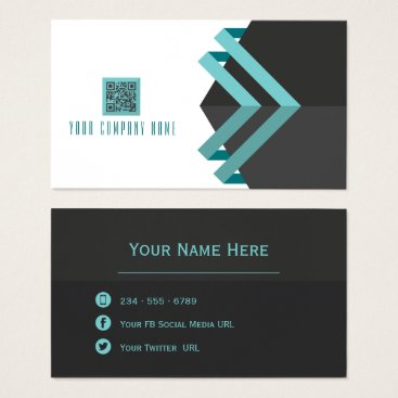 Professional Business Modern Lines Aqua and  Charcoal with QR Code Business Card