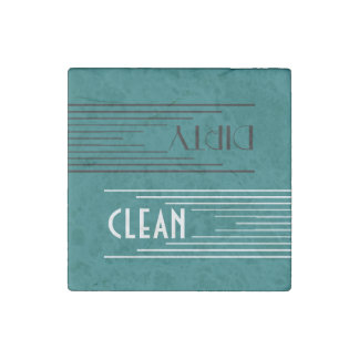 Modern Lines clean / dirty dishwasher (teal) Stone Magnet