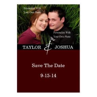 Modern Lines Deep Cocoa Photo Save The Date #2 Large Business Cards (Pack Of 100)