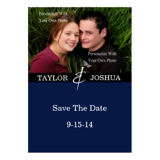 Modern Lines Deep Navy Photo Save The Date #2 Large Business Cards (Pack Of 100)