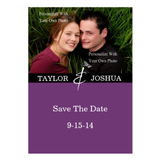 Modern Lines Deep Plum Photo Save The Date #2 Large Business Cards (Pack Of 100)