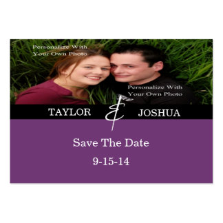 Modern Lines Deep Plum Photo Save The Date Card Large Business Cards (Pack Of 100)