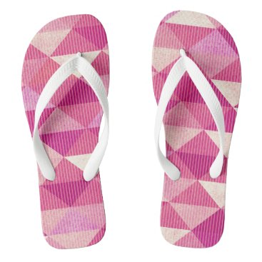Beach Themed Modern Lines Geometric | fuschia Flip Flops