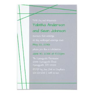 Modern Lines Green - 3x5 Wedding Announcement