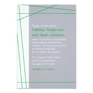 Modern Lines Green - 3x5 Wedding Invitation