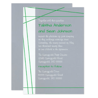 Modern Lines Green -3x5 Wedding & Reception Invite