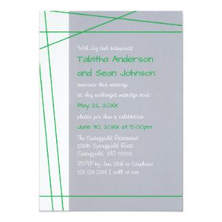 Modern Lines Green - Wedding Announcement