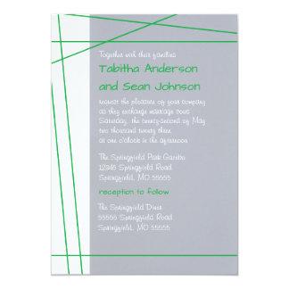 Modern Lines Green - Wedding & Reception Invite