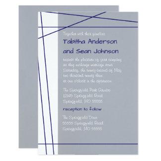 Modern Lines Navy -3x5 Wedding & Reception Invite