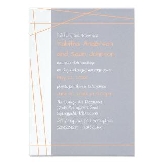 Modern Lines Peach - 3x5 Wedding Announcement