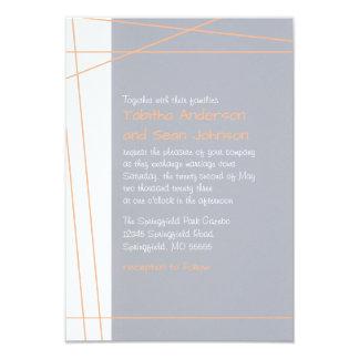 Modern Lines Peach - 3x5 Wedding Invitation