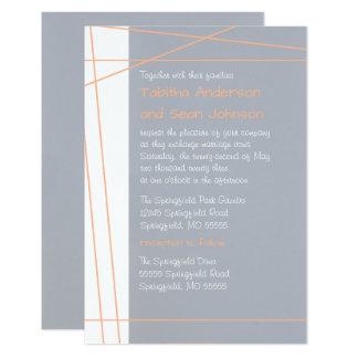 Modern Lines Peach -3x5 Wedding & Reception Invite