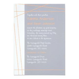 Modern Lines Peach - Wedding & Reception Invite